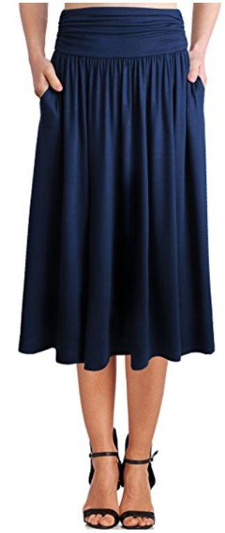 womens-rayon-spandex-high-waist-shirring-flared-skirt-with ...