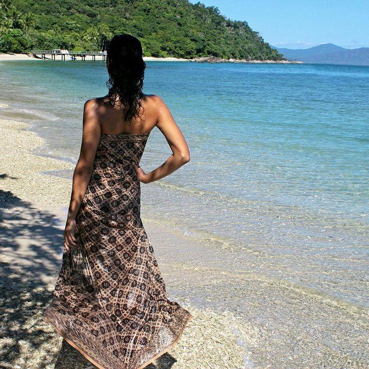 Tropical beach, handmade batik sarong wrap . Sarong coverup. Beach pareo. Handmade batik fabric.