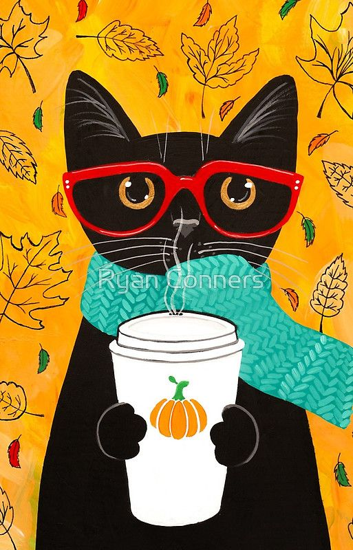 'Pumpkin Coffee Cat' iPhone Case by Ryan Conners