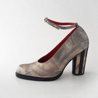 CLARA COURT - Distressed Gold/ Black Striped Heels #pzd #ltdedition #bespokeshoes