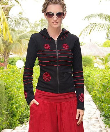Take a look at this Black & Red Zip-Up Hoodie by Aller Simplement on #zulily today!