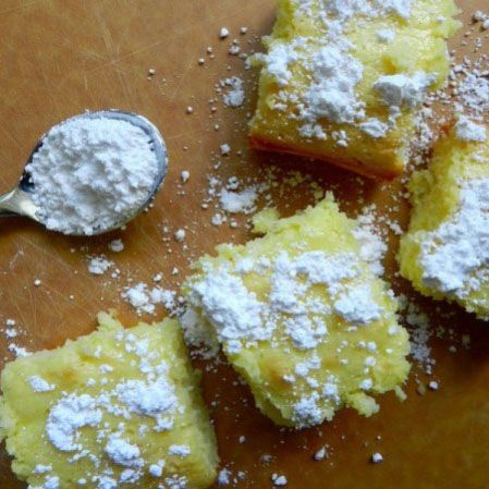 Lemon Squares  Cake Mix + Lemon Pie Filling = Skinny Lemon Bars   That's right – just mix 1 box of angel food cake with 22 ounces of lemon pie filling and bake at 350 for 30 minutes. Et voila: lemon bars with flavor that will transport you to your 3rd grade bake sale (but healthier).