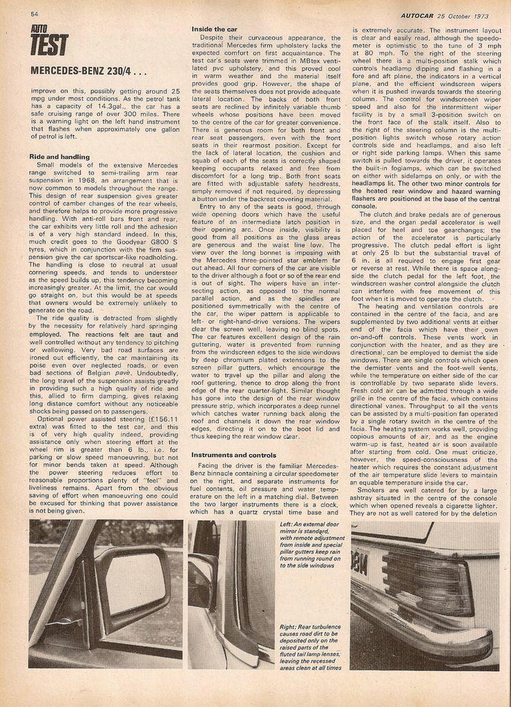 Autocar Review on the Mercedes Benz 230.4 Oct 1973 - PeachParts Mercedes ShopForum