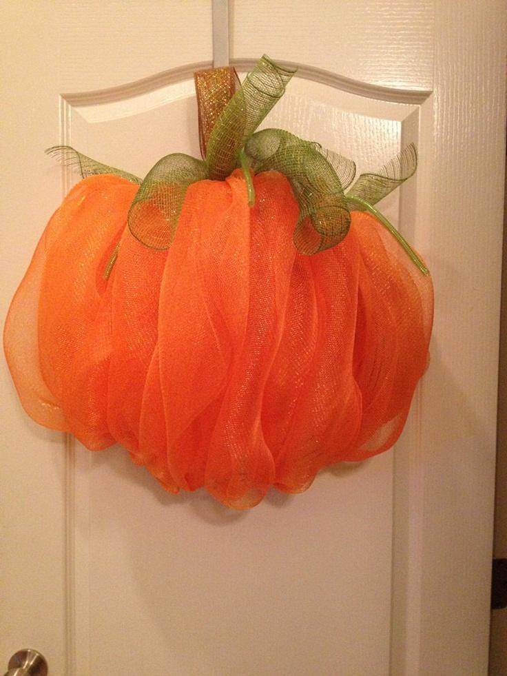 Pumpkin mesh wreath - Fall Halloween Door Decor. $32.00, via Etsy.