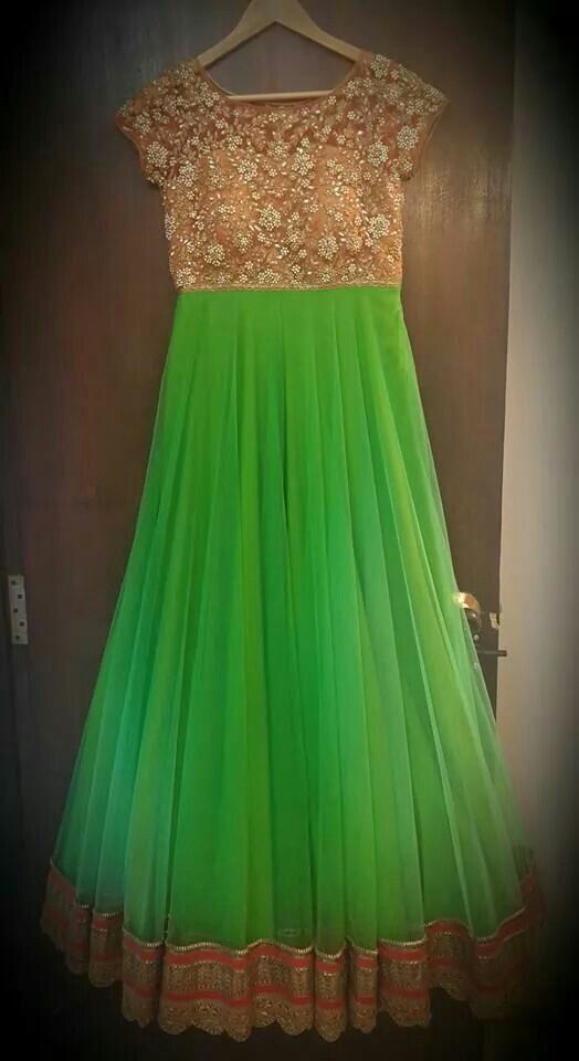 Parrot green floor length anarakali with peach yolk with embroidery on net. Mrunalini Rao.