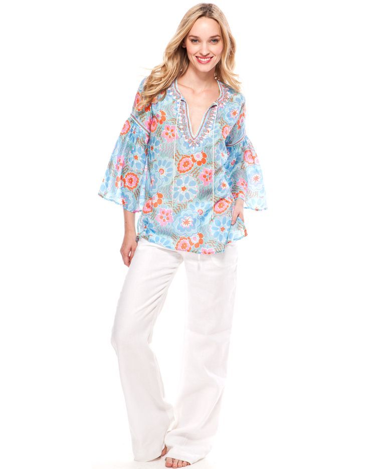 G Yoke Whimsy Print Top - Sky