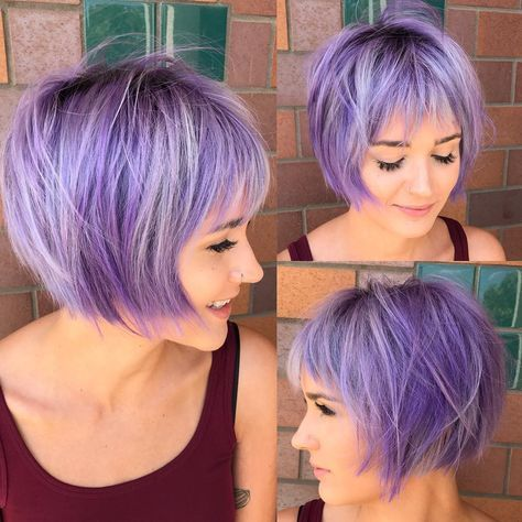 This Undone Shaggy Bob with Fringe Bangs and Lilac Color with Silver Highlights is a great modern cut for someone seeking a unique, fun style. This sh...