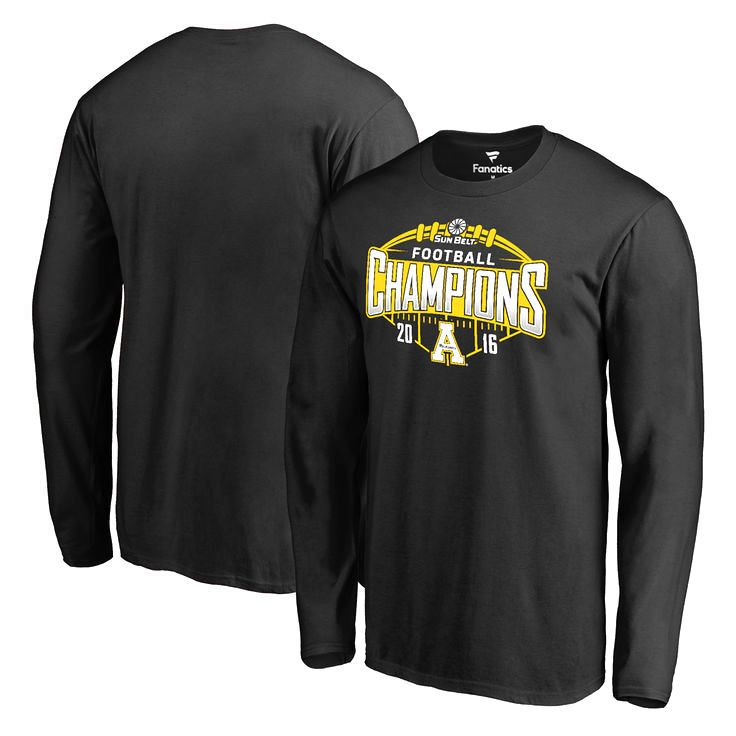 Appalachian State Mountaineers Fanatics Branded 2016 Sun Belt Football Champions Long Sleeve T-Shirt - Black - $27.99