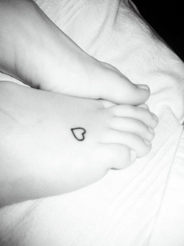 Cute Heart Tattoo On Foot