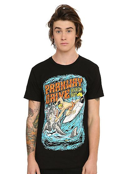 Parkway Drive Surfer Vs. Shark T-ShirtParkway Drive Surfer Vs. Shark T-Shirt,
