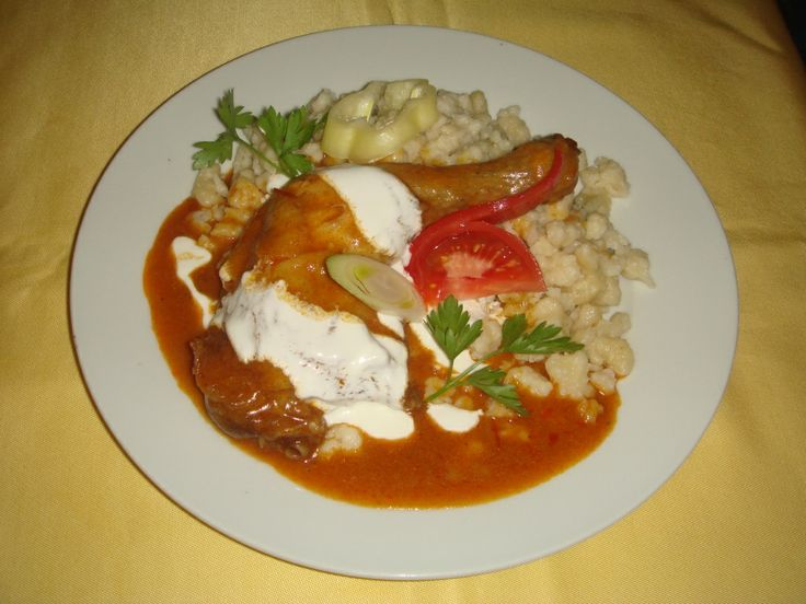 This is Paprikás Csirke. It is a Chicken based dish with a creamy paprika sauce.
