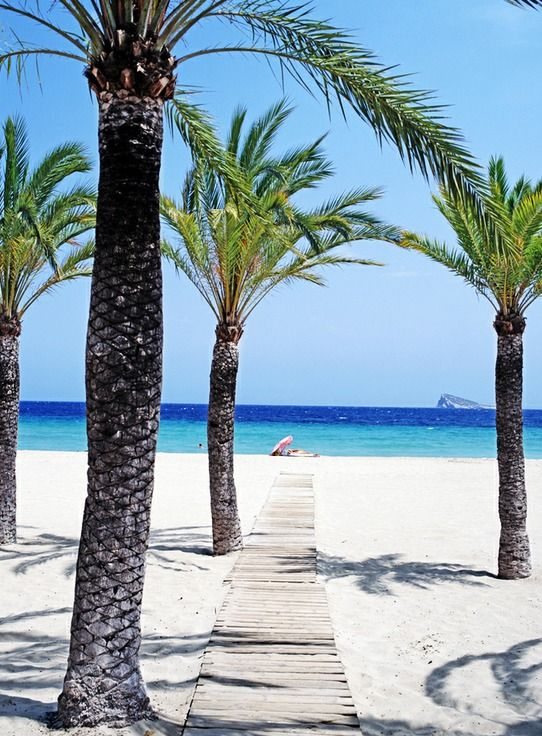 Benidorm, Alicante, Spain. Summer, holidays, sand, blue sea, blue sky. Let's go beach!