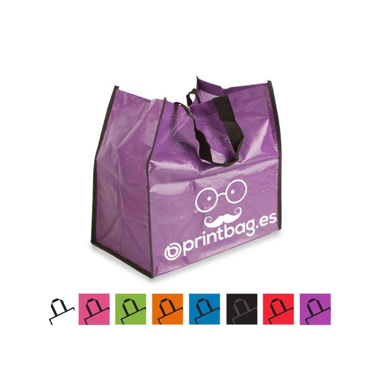Bolsas ecológicas personalizadas fabricadas en polipropileno moradas para la compra.