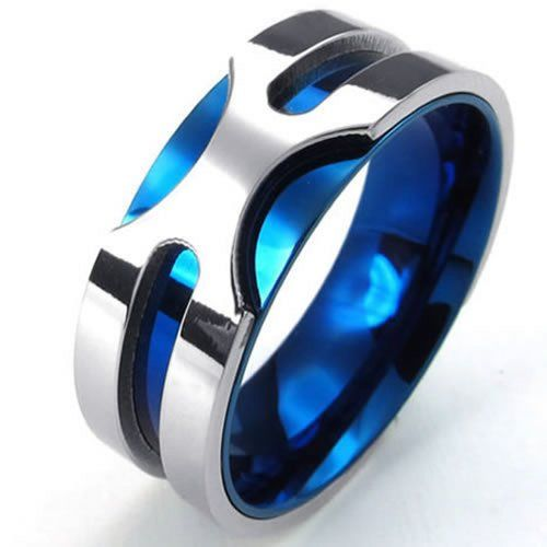 KONOV Jewelry Mens Stainless Steel Ring, 8mm Classic Band, Blue Silver: