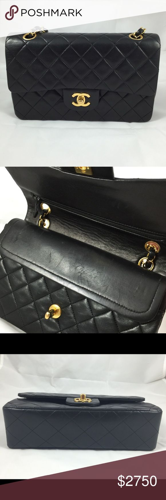 Vintage Chanel Double Flap Lambskin Bag Bought it in TheRealReal.com $3750.00 couple scratches on the inner lining. PRE OWNED • I'm the 2nd owner of this bag • I only used it couple times • I will give you the sizing this weekend • But as of now If you ask me it's a small size bag • Inclusion authenticity card • I don't have a dust bag but I can give you my YSL dustbag if you like • I haven't sold anything yet so I recommend that I'll go through posh to aunthenticate the item for you •…
