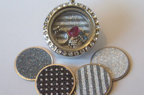Patterned Glitter Locket Plates, will fit any Origami Owl or similar locket necklace, Available in medium and large, CHOOSE ONE on Etsy, $7.50