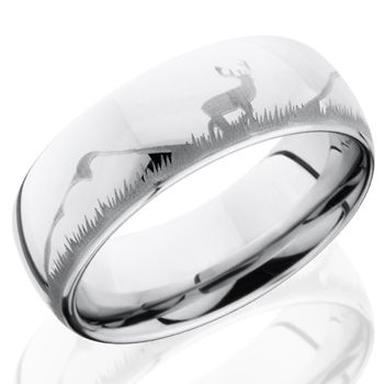 Fable Designs Cobalt Half Round Laser Deer Wedding Band