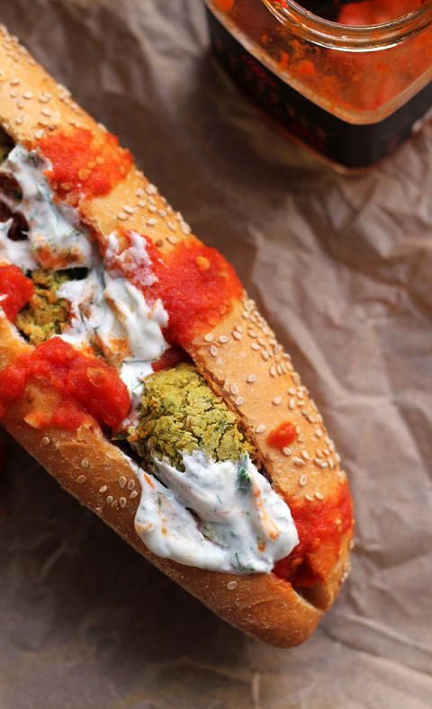 Baked Falafel Hoagies with Harissa Tomato Sauce and ...