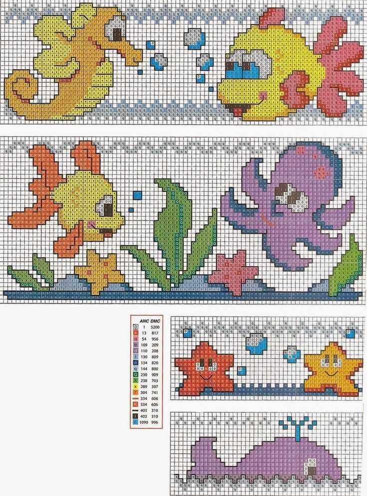 """Delicado Cantinho: Gráficos Ponto Cruz """"Variados Fundo do Mar"""". ☀CQ #crochet #filet #tapestry #tunisian #charts #graphs"""
