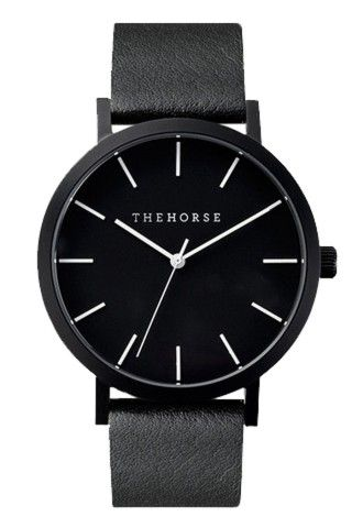 Matte Black Leather Watch