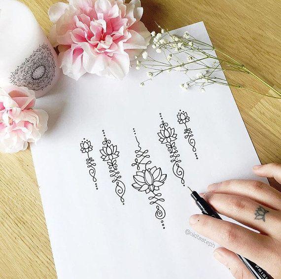 Lotus Unalome temporal del tatuaje conjunto por Okitssteph en Etsy                                                                                                                                                                                 Más