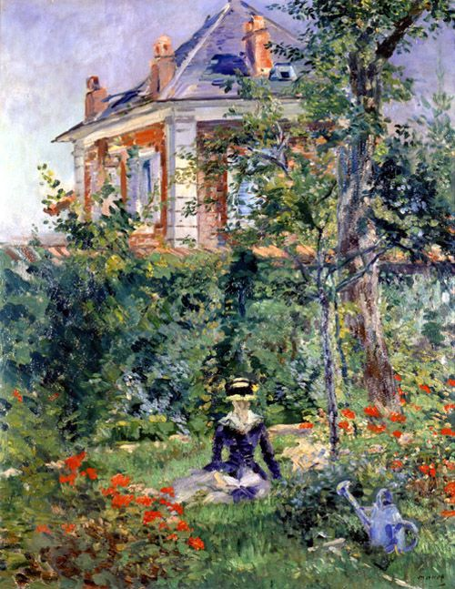 ⊰ Posing with Posies ⊱ paintings of women and flowers - A Garden Nook at Bellevue, Eduard Manet.