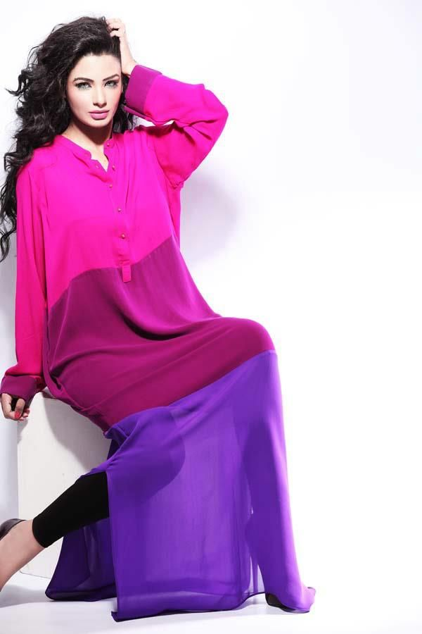 Rabiya Mumtaz' Charm Colour Blocked Kurta Collection For Women 2012