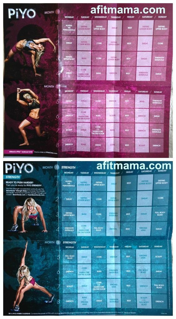 Piyo Workout Schedule And Calendar Healthy Living