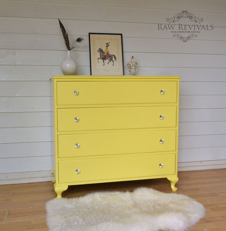 Vintage queen anne chest of drawers painted in a vibrant canary yellow   www rawrevivals. 30 best Chest of drawers images on Pinterest   Queen anne  Paint