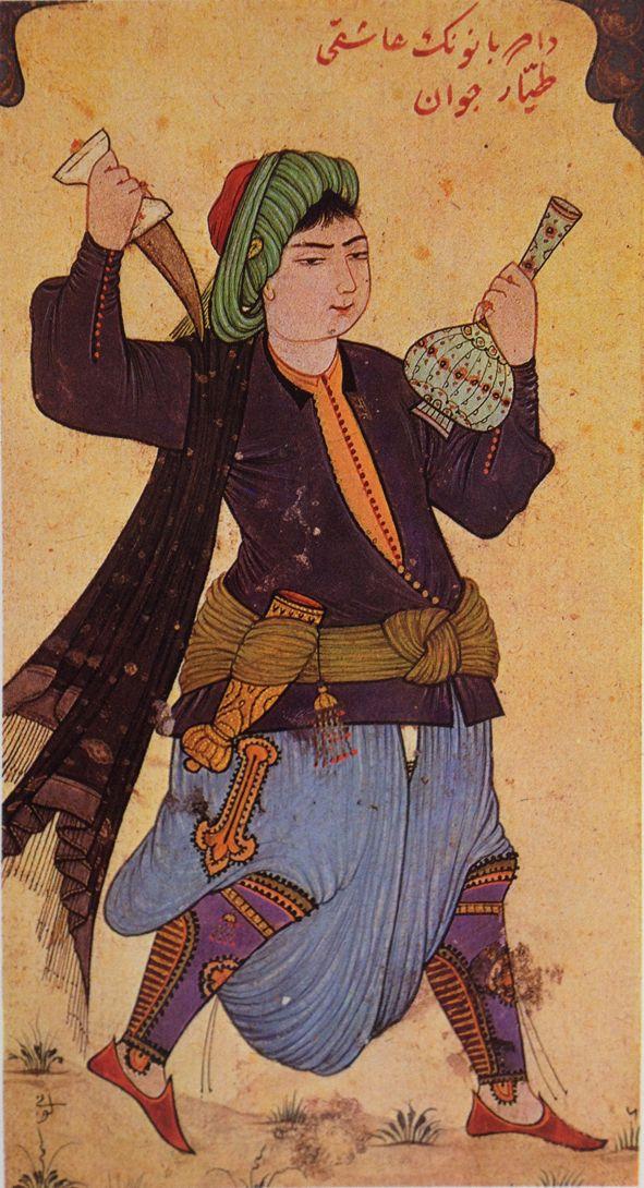 Minyatür-miniature. Persian youth. Levni, 18th century.