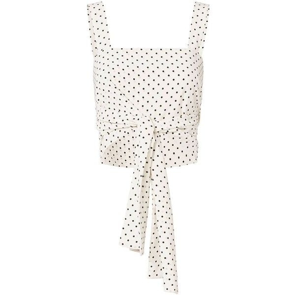 Alexis Women's Sena Dot Tie-Front Crop Top (1,175 MYR) ❤ liked on Polyvore featuring tops, white polka dot top, white wrap top, cut-out crop tops, crop top and white crop top