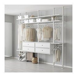 IKEA - ELVARLI, 4 sections, You can always adapt or complete this open storage solution as needed. Maybe the combination we've suggested is perfect for you, or you can easily create your own.You can combine open and closed storage - shelves for your favorite things and drawers for the things you want to store away.Adjustable shelves and clothes rails make it easy for you to customize the space according to your needs.You choose if you want to place the open storage solution against a wall…