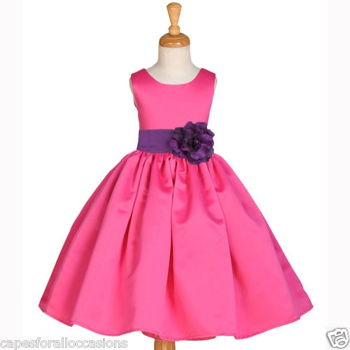 Fuchsia hot pink plum purple gown wedding flower girl for Pink and orange wedding dresses