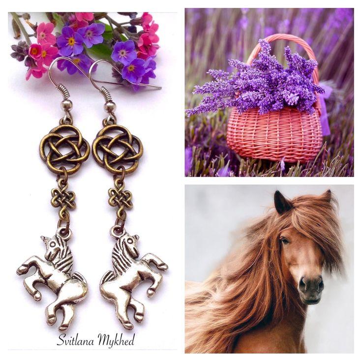 """Boucles d'oreilles """"Cheval. Licorne. Au galop. Équestre. Fer à cheval"""" : Boucles d'oreille par perles-et-couronnes"""