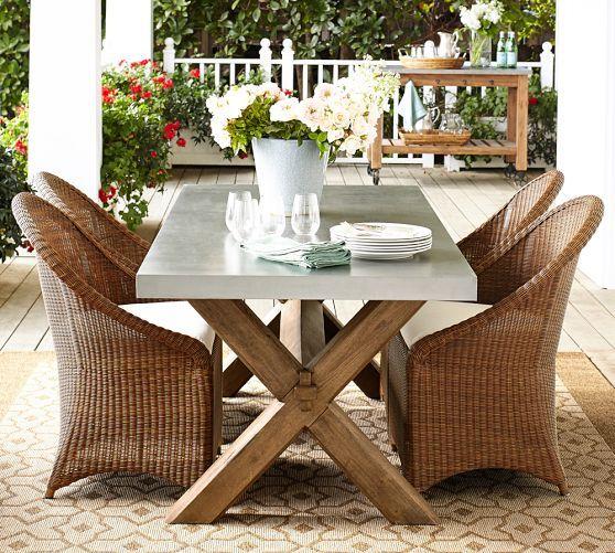 Abbott Zinc Top Rectangular Fixed Dining Table Palmetto Chair Set Pottery Barn Outdoor