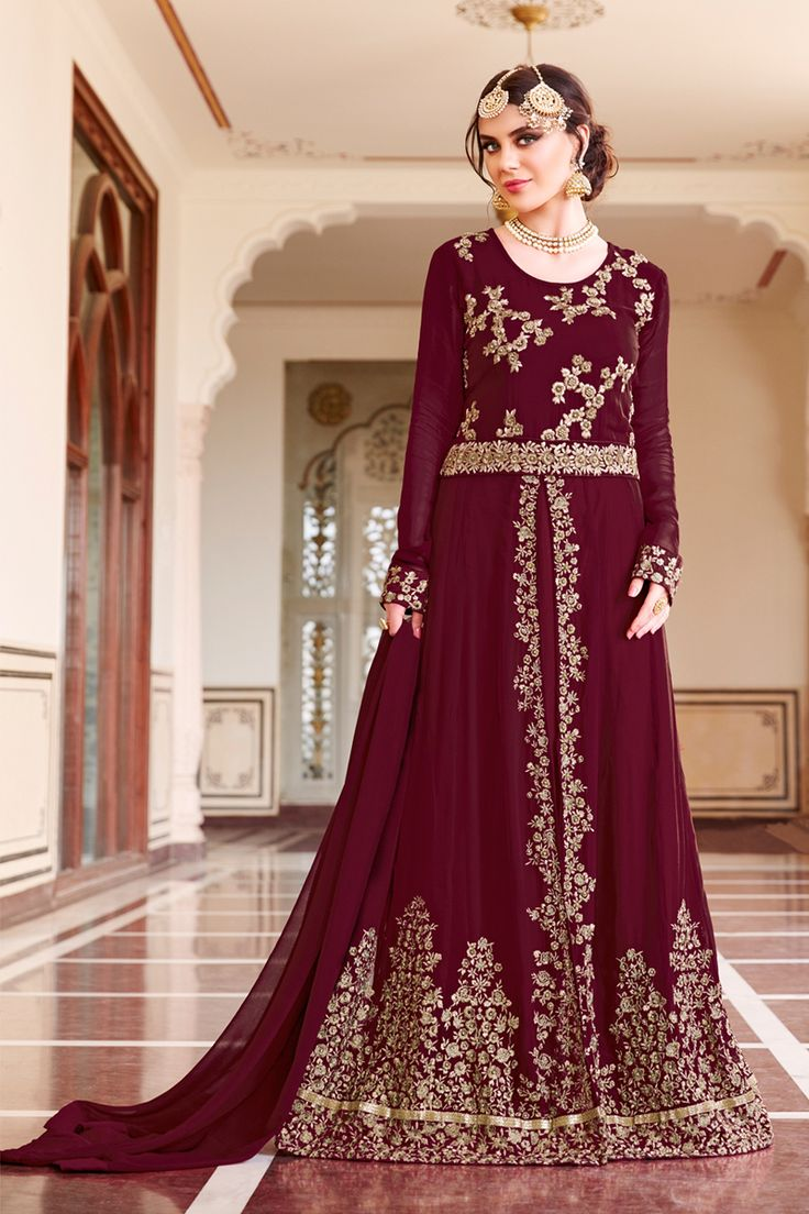 Maroon Designer Party Wear Georgette Anrkali Suit With Embroidary Work Begam Catalog  601