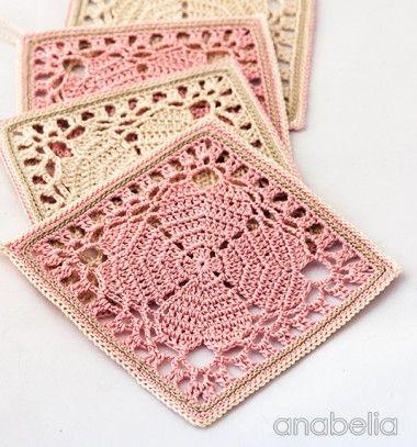 Shabby chic style crocheted coaster / Shabby Chic stílusú horgolt alátétek / Mindy