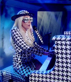 """""""Lady Gaga must really love the sophisticated black-and-white printed look she spotted on the Salvatore Ferragmo Fall 2010 runway, because the singer wore it from head to toe when she appeared as a guest host on The View Monday."""" - US Weekly"""