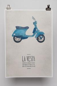 Emily Isles' fun posters of italian inventions complete with little stories ~ La Moka, La Vespa, La Letter 22, L'ape.