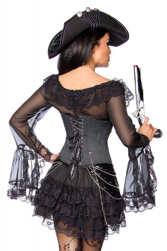 Piratenkleid / Long-Bluse schwarz: - schönes Piraten-Kleid - einteiliges Kleid mit eingenähtem Volantrock - mit Spitze verziert - mit Carmenausschnitt - ...