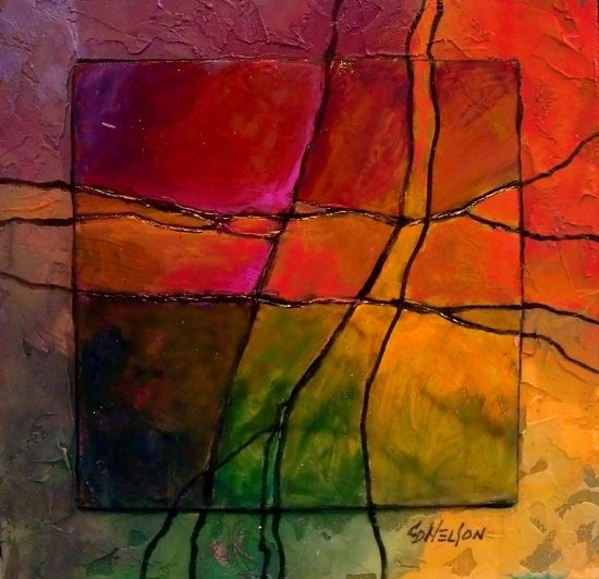 Gemstone 6, 12066 by Carol Nelson mixed media ~ 6 x 6