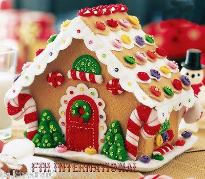Bucilla pan de jengibre casa ~ Fieltro Navidad 3d Decoración del Hogar Kit # 85261, Cookies