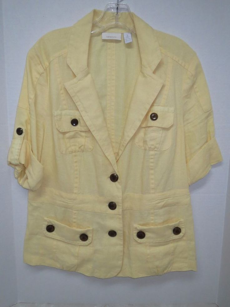Womens Light Yellow Chico S Linen Jacket Size 2 Spring