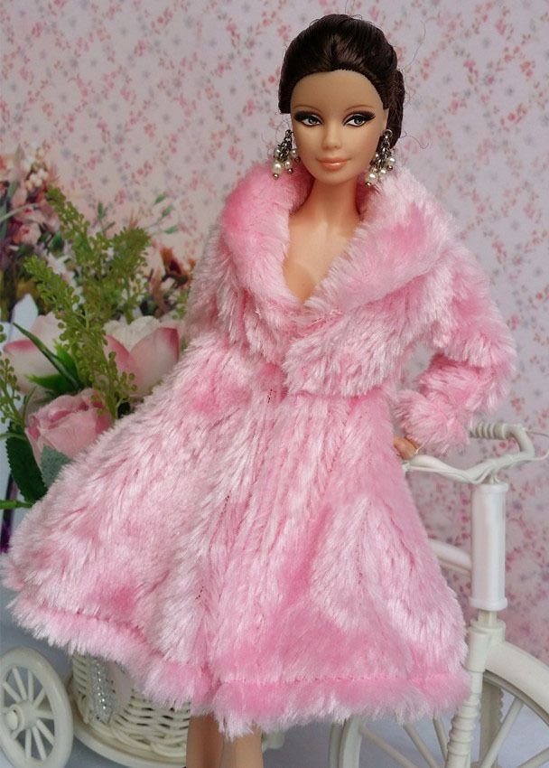 Pink Lovely Fashion Winter fur Coats Clothes/Outfit For Barbie Doll C002 | eBay