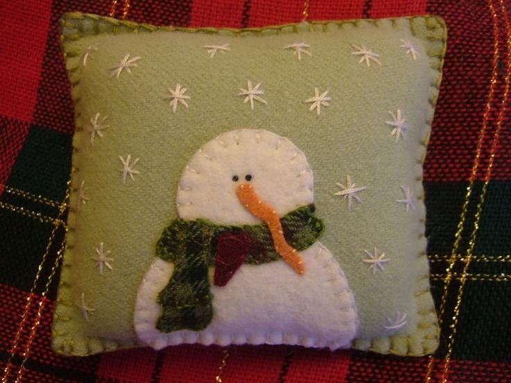 Wool Snowman Primitive Penny Rug Pillow Pincushion