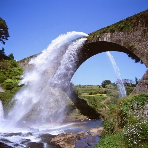 """Discovered By: chanlee """"Tsujun Bridge is an aqueduct in Yamato, Kumamoto,Japan. It is arch bridge completed in 1854 and is 84.0m long. The arch spans 27.3m. It is the largest stone aqueduct in Japan."""" at Yamato-cho, Japan"""