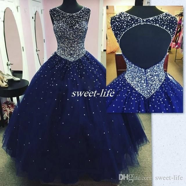 Real Images Dark Blue Long Quinceanera Dress 2017 Plus Size Backless Crysatl Beaded Ball Gown Tulle Debutante Party Gowns Vestido 15 Anos Quinceanera Dresses Plus Size Prom Dresses Online with $158.0/Piece on Sweet-life's Store | DHgate.com