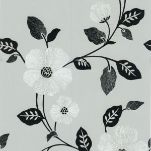 56 sq ft madison silver french floral wallpaper 414 - Floral wallpaper home depot ...