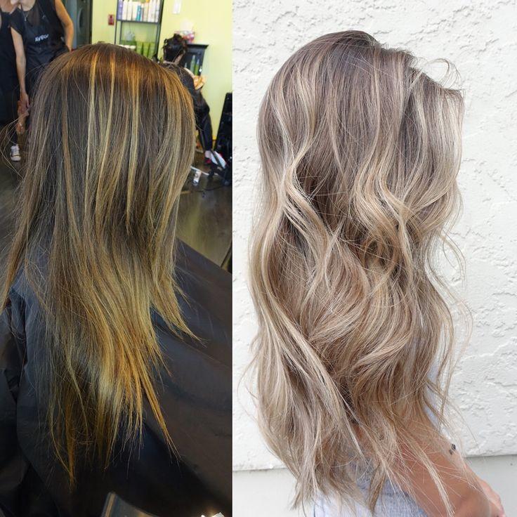 Ash beige blonde balayage hair More                                                                                                                                                                                 More