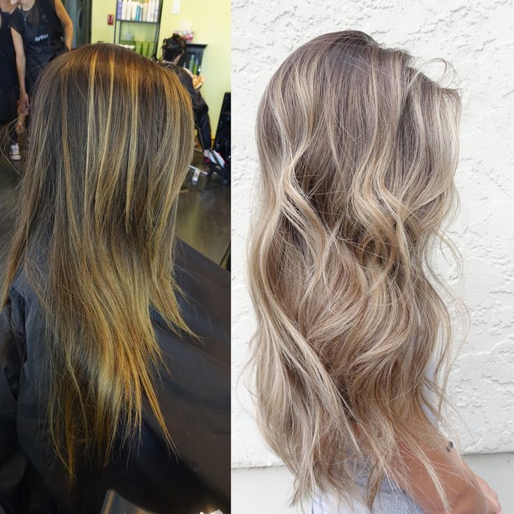 Ash beige blonde balayage hair                                                                                                                                                                                 More